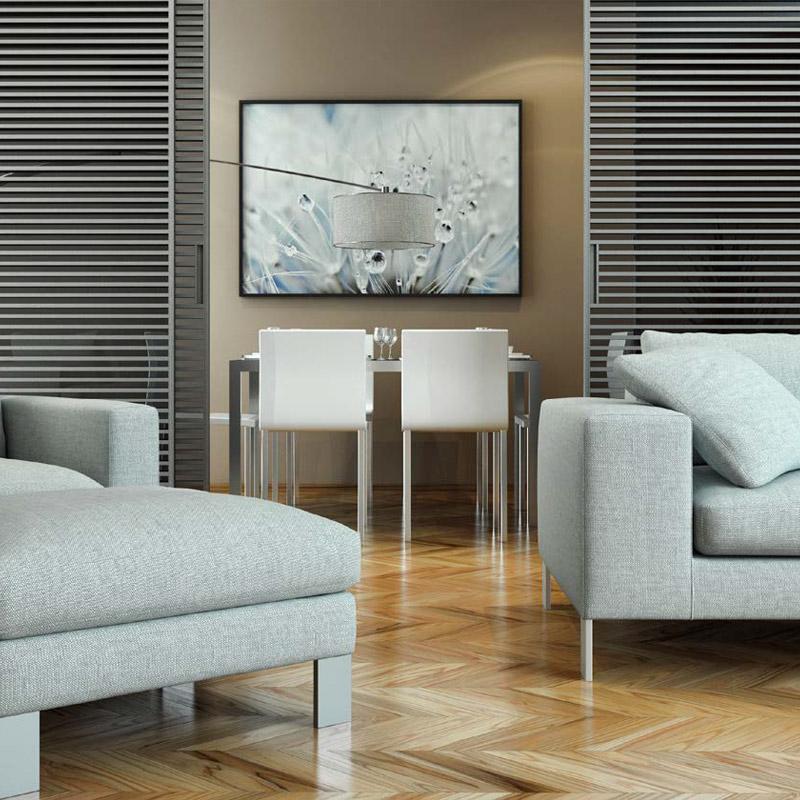 Parquetry Flooring Panels featuring Chevron Design