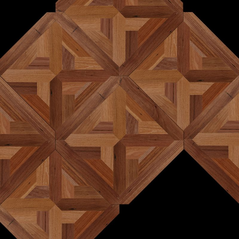 Parquet Flooring Panel feat. Tiled example of Canterbury Demure pattern in 100% Recycled 'Victorian Origins' Reclaimed Australian Hardwood