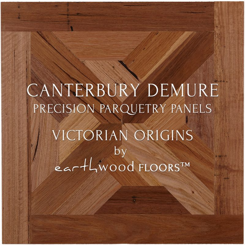 Parquet Flooring Panel feat. Canterbury Demure pattern in 100% Recycled 'Victorian Origins' Reclaimed Australian Hardwood