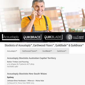 Stockists of Acoustaply™, Earthwood Floors™, QuikBlade™ & QuikBrace™