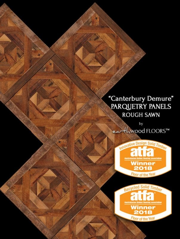 Canterbury Demure Parquetry Panels on black background plus Official Badges Dual Category Winner Innovative Design Solid Timber Floor of the Year