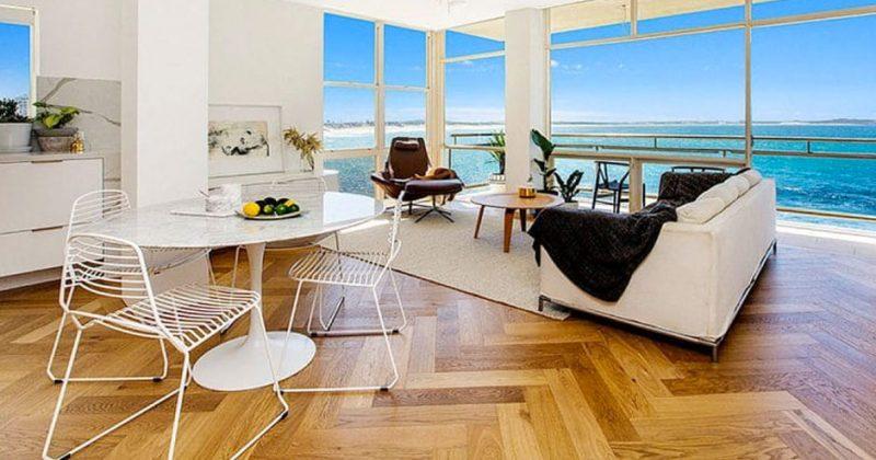 herringbone wood floor with a view