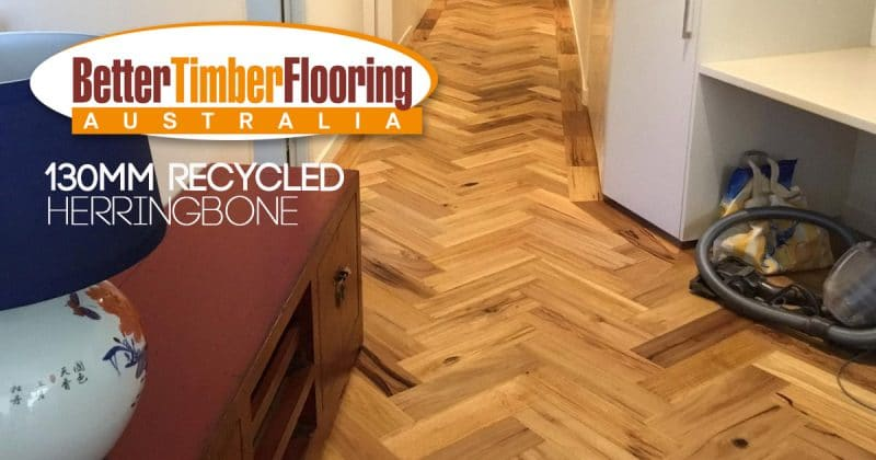 Recycled Herringbone Parquetry in 130mm Gladstone Pipeline by Earthwood Floors