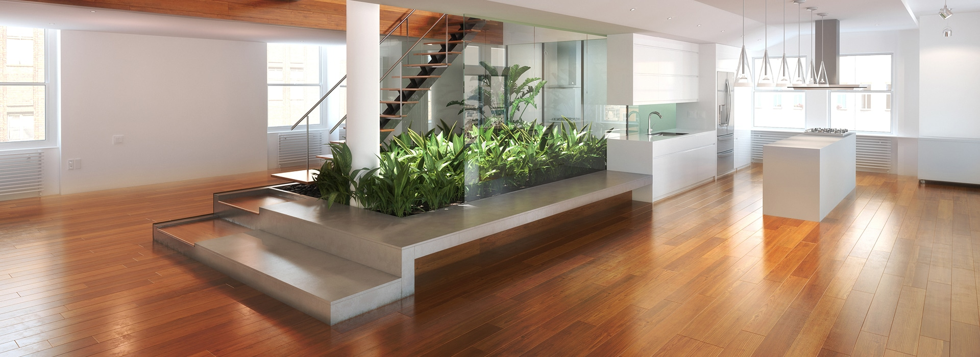 Timber Floor with floating staircase